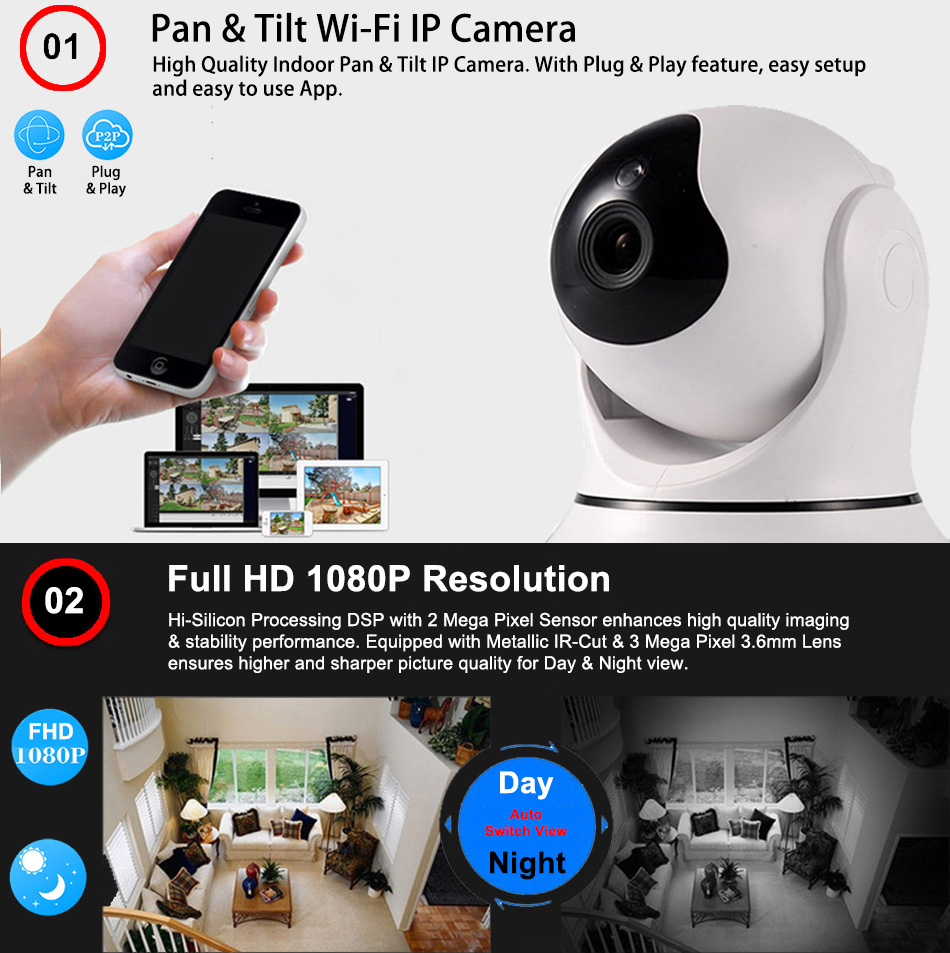 Pan Tilt Wi-FI Security Camera - High quality indoor pan tilt IP camera, with plug and play feature, easy setup and easy to use App.