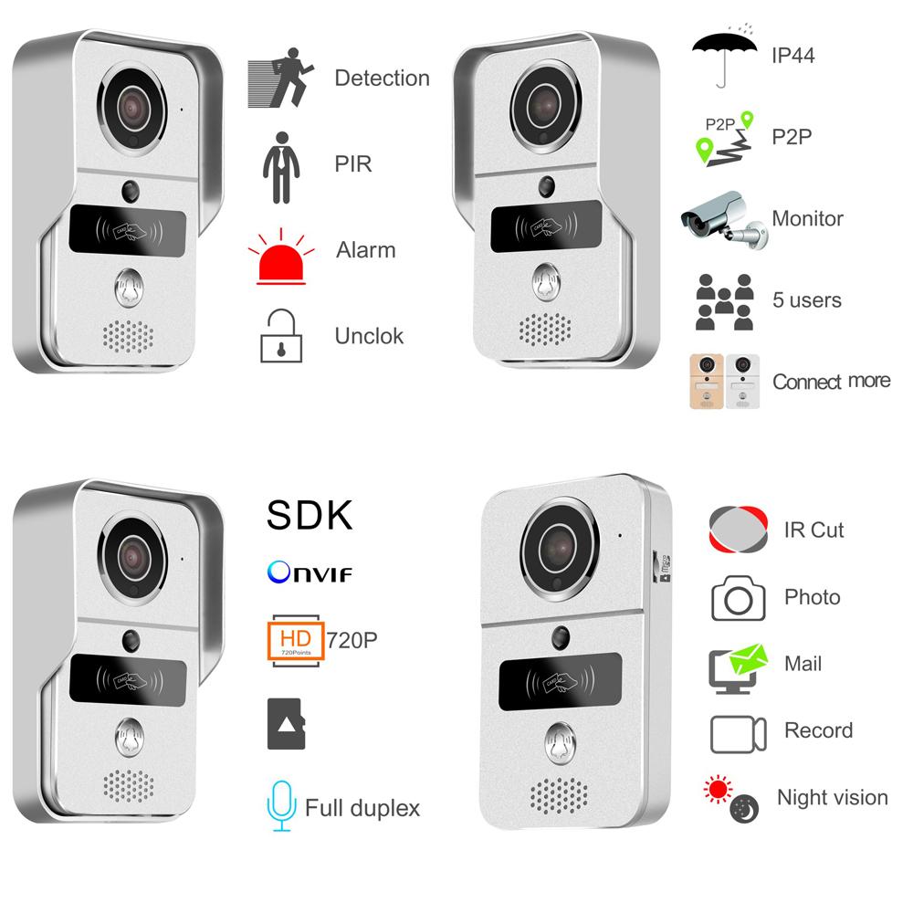 akıllı kapı zili hareket algılama, PIR hareket algılama, IP44 hava koşullarına dayanıklı tasarım, P2P bağlantısı, kontrol elektronik kilit, 5 çevrimiçi kullanıcıyı, 720p HD video gözetim, anlık e-posta uyarısı, Onvif, gece görüşü, 2 yönlü sesli interkom destekler