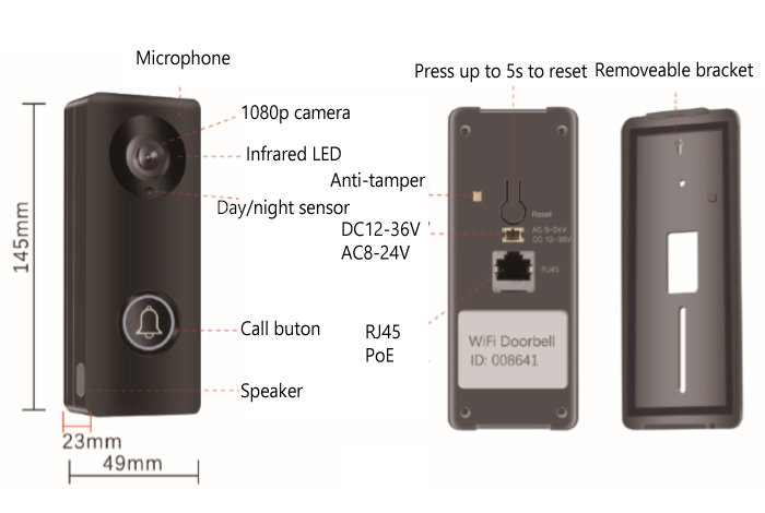 1080p App Controlled Smart Doorbell Camera Poe Wireless Wi